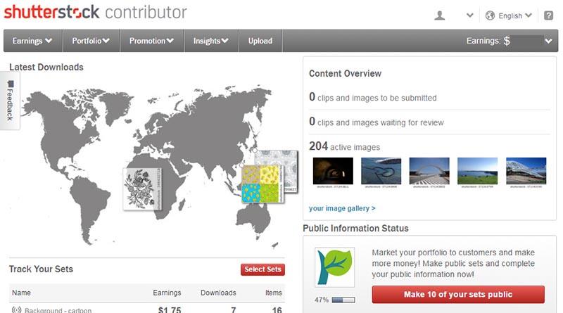shutterstock 圖庫網站 管理畫面